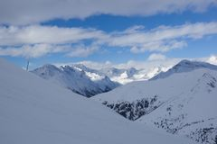 Panoramic mountain view, Passo Tonale, Italy Royalty Free Stock Photo