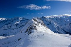 Panoramic mountain view, Passo Tonale, Italy Stock Photo
