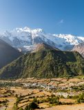 Panoramic mountain view with village. Stock Photo