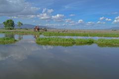 Panoramic of the mountains, Lake Inle, Burma. Little house on stilts on the lake Stock Image