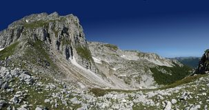 Panoramic mountains landscape. Panoramic view of rocky mountains. Hi res Stitched  image Stock Image