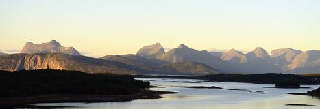 Panoramic mountains. Panoramic view of mountains.norway royalty free stock photography