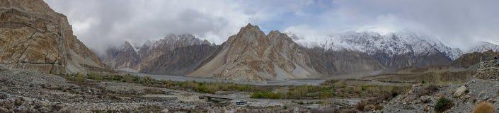 Panoramic mountainscape photography at Passu village, Gilgit, Ba stock photos