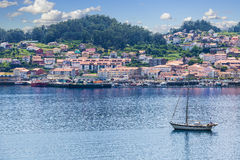 Panoramic of Muros harbor and town Stock Photo