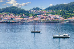 Panoramic of Muros harbor and town Stock Photography