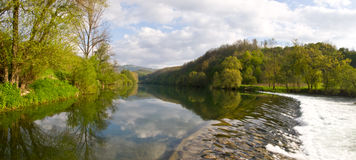 Panoramic Nature With River And Trees Royalty Free Stock Photo