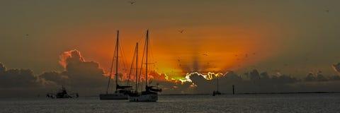 Panoramic nautical cumulonimbus ocean Sunset royalty free stock photography
