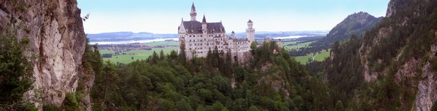 Panoramic Neuscwanstein. One of the most wonderful and exciting castles in the world Stock Photos
