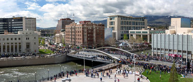 Panoramic New Bridge Celebration Downtown First Street in Reno Nevada. Large Panoramic New Bridge Celebration in Reno NV Downtown First Street; crowd gathering Stock Photos