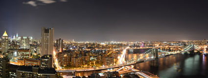 Panoramic New York at night Royalty Free Stock Photography