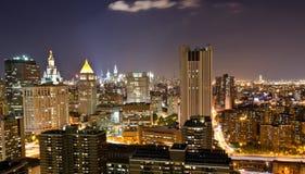 Panoramic New York at night. Panoramic night view of New York City view from downtown New York City, USA Stock Photo