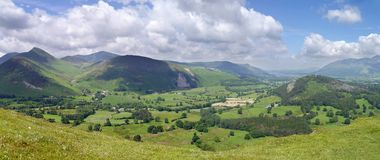 Panoramic of the Newlands Valley, Lake District Royalty Free Stock Photos
