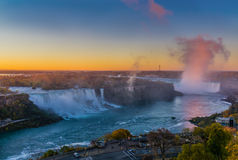 Panoramic of Niagara Falls in the morning Stock Images