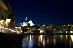 Panoramic night Cadaques Royalty Free Stock Photos