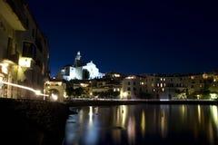 Panoramic night Cadaques royalty free stock photos