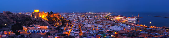 Panoramic night Citadel of Almeria stock photography