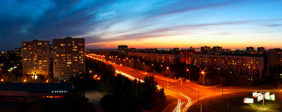 Panoramic night city Royalty Free Stock Images