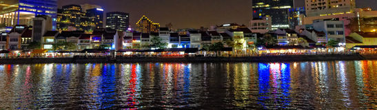 Panoramic night city landscape, Boat Quay, Singapore Royalty Free Stock Photos