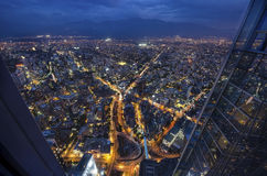 Panoramic city view from the Gran Torre Santiago in Santiago de Chile. Panoramic night city view from the Gran Torre Santiago in Santiago de Chile Royalty Free Stock Images
