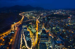 Panoramic city view from the Gran Torre Santiago in Santiago de Chile. Panoramic night city view from the Gran Torre Santiago in Santiago de Chile Royalty Free Stock Photography
