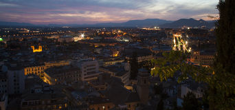 Panoramic night Granada. Night panoramic view of the city of Granada from the viewpoint of the canvas in the neighborhood of the Albayzin Heritage Site sunset Royalty Free Stock Images