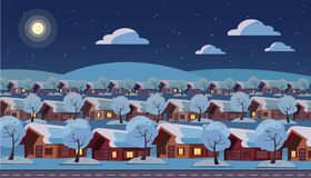 Free Panoramic Night Landscape Of Suburban One-story Village. Same Houses Are Located In Three Rows. Winter Snow Starry Weather, Moon, Stock Images - 184490044