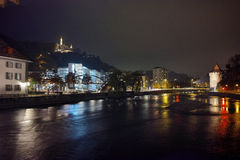 Panoramic Night photo of old town of City of Lucern and Reuss River, Switzerland Royalty Free Stock Photography