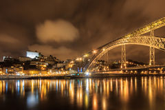 Panoramic night of Porto Stock Images