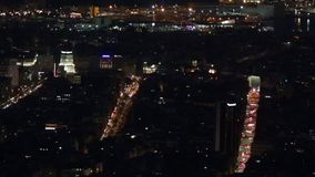 Panoramic night scene in Barcelona. Traffic with accelerated motion, suggesting the city life stock footage