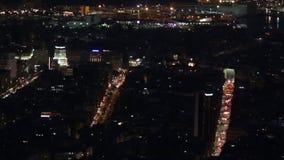Panoramic night scene in Barcelona stock footage