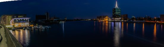 Panoramic Night scene of Five Cowries Creek and The Civic Center Towers Victoria Island, Lagos Nigeria royalty free stock photos