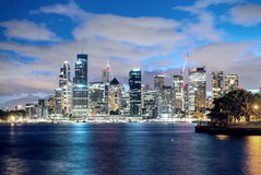 Panoramic night skyline of Sydney Stock Photo