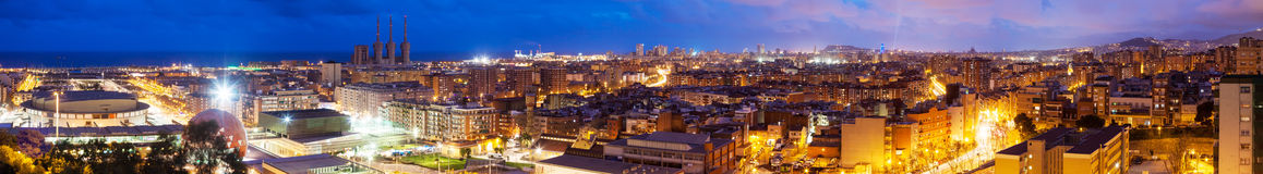 Panoramic night view of Badalona and Barcelona Stock Photo