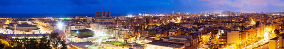 Panoramic night view of Barcelona from Badalona Stock Image
