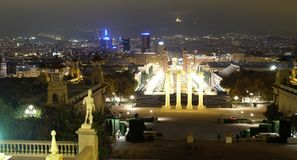 Panoramic night view of Barcelona Royalty Free Stock Photography