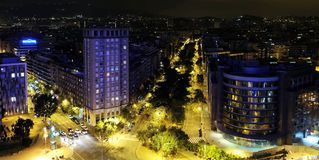 Panoramic night view of Barcelona Royalty Free Stock Image
