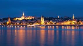 Buda side of Budapest night view royalty free stock photo