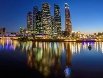 Panoramic night view of the business district in Moscow - Moscow International Business Center `Moscow City`, Russia stock photos
