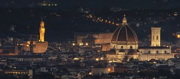 Panoramic night view of the city of Florence royalty free stock images