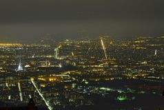 Panoramic night view of the city stock photography