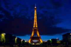 Panoramic night view on the Eiffel Tower in Paris, France Royalty Free Stock Images