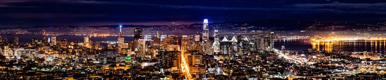 Panoramic night view of the Financial District, San Francisco, California royalty free stock photography