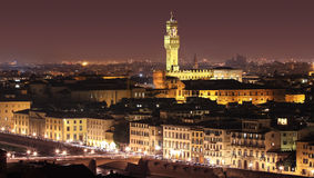 Panoramic night view of Florence, Italy Stock Photo