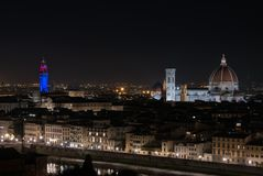 Panoramic night view of Florence from Piazzale Michelangelo stock images