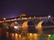 Panoramic view of the historic covered bridge of Pavia -Italy Royalty Free Stock Images