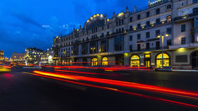 Panoramic night view of hotel metropol Stock Images