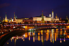 Panoramic night view of Moscow Kremlin, Russia. Royalty Free Stock Photo