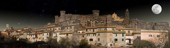 Free Panoramic Night View Of Bracciano In The Moonlight Royalty Free Stock Image - 19768036
