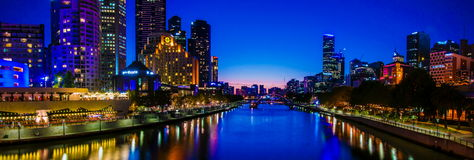 Panoramic night view over Yarra River and City Skyscrapers in Melbourne, Australia Stock Photography