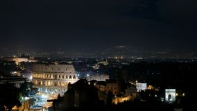 Panoramic night view of Rome royalty free stock photography